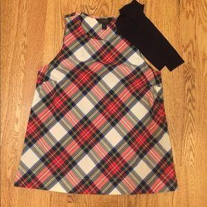 J.Crew plaid sleeveless top w/black shoulder tie